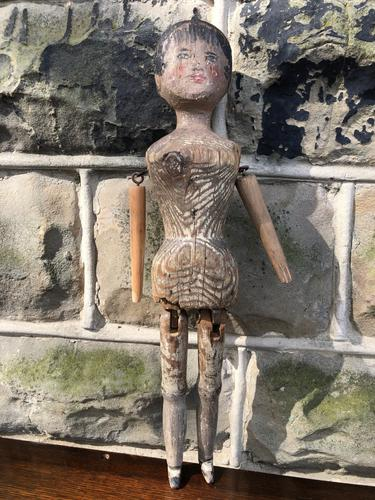 Early Primitive Wooden Articulated Doll (1 of 9)