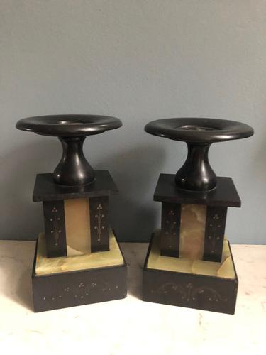 Pair of Antique Black Slate Urn Stands (1 of 5)
