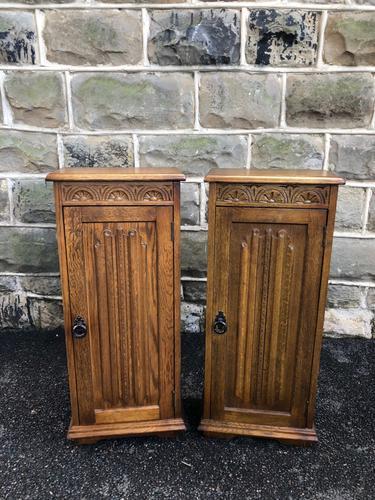 Pair of Carved Oak Bedside Cabinets (1 of 6)