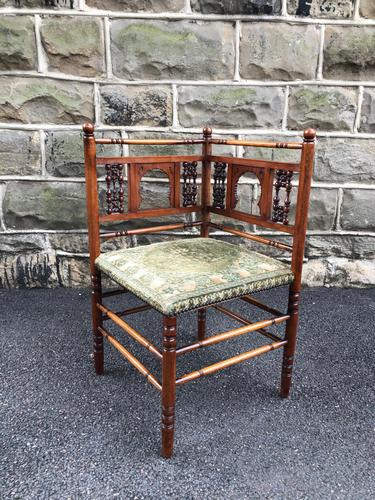 Antique Walnut Aesthetic Movement Corner Chair (1 of 6)