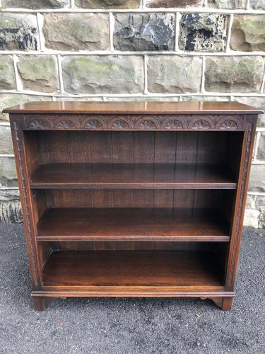 Antique Carved Oak Open Bookcase (1 of 1)