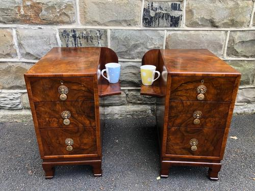 Pair of Antique Burr Walnut 3 Drawer Bedside Chest (1 of 8)