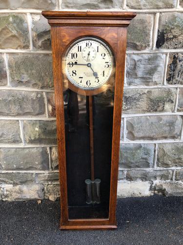 Antique Oak Cased Regulator Clock (1 of 9)