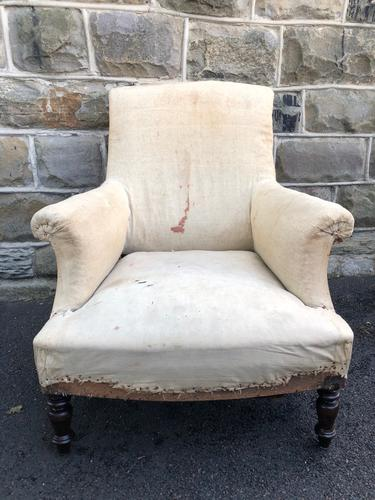 Antique English Upholstered Armchair for Recovering (1 of 7)