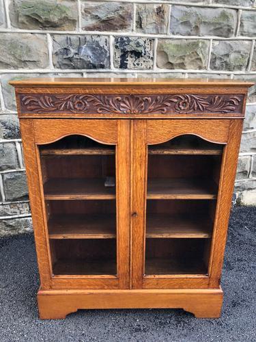 Antique Carved Oak Glazed Bookcase (1 of 10)