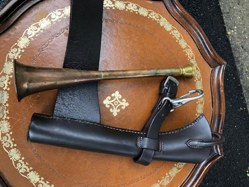 Copper Hunting Horn in Leather Case (1 of 5)