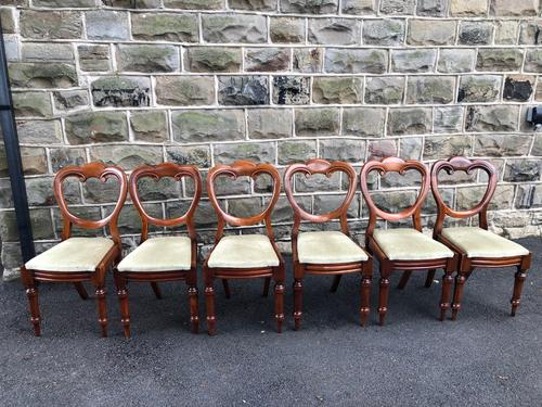 Antique Set of 6 Mahogany Balloon Back Dining Chairs (1 of 11)