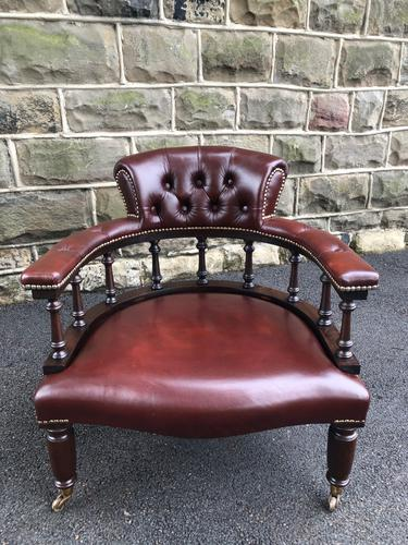 Antique Mahogany & Leather Club Armchair (1 of 9)