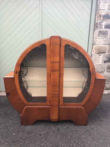 Art Deco Figured Walnut Display Cabinet (1 of 9)