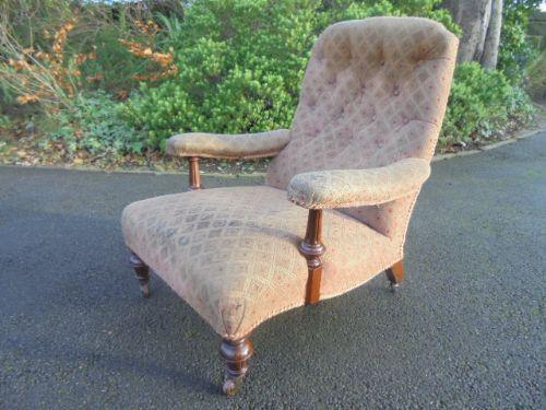 Antique Upholstered Howard Style Armchair c.1880 (1 of 1)