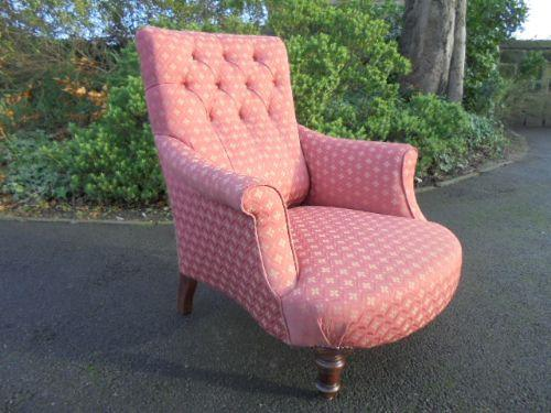 Good Shaped Antique Upholstered Armchair c.1880 (1 of 1)