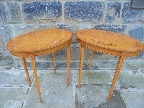 Pair of Painted Satinwood Occasional Tables / Lamp Table (1 of 1)