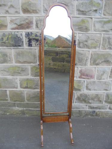 Antique Walnut Cheval Mirror / Dressing Mirror (1 of 1)