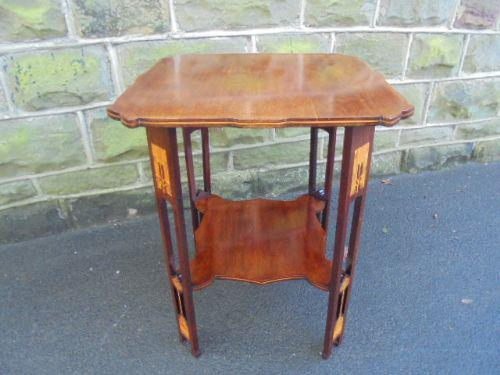 Art Nouveau Inlaid Mahogany Table / Lamp Table c.1890 (1 of 1)