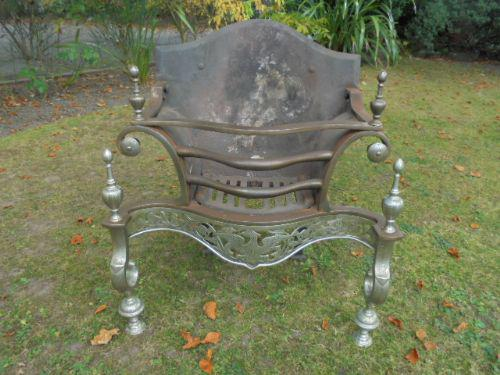 Antique Steel & Cast Iron Fire Basket Dog Grate c.1880 (1 of 1)