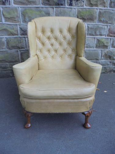 Antique Leather Wing Armchair c.1910 (1 of 1)