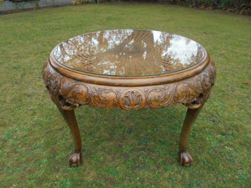 Carved Walnut & Bergere Coffee Table c.1920 (1 of 1)