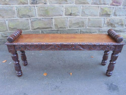Antique Carved Oak Window Seat Bench / Hall Seat c.1860 (1 of 1)