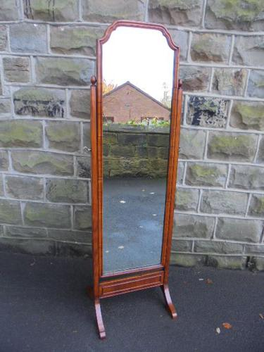 Walnut Framed Cheval Mirror / Dressing Mirror c.1920 (1 of 1)