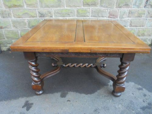 Large 8ft Antique Barley Twist Oak Extending Dining Table / Kitchen Table (1 of 1)