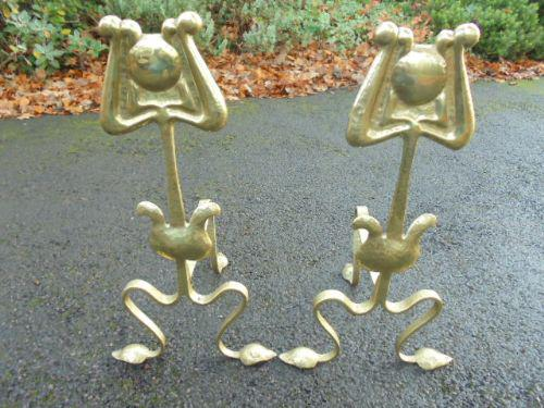 Pair of Arts & Crafts Brass Fire Dogs c.1890 (1 of 1)