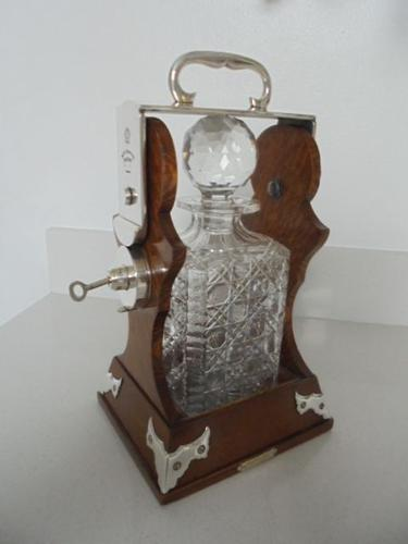 Quality Antique Oak & Silver Plated Single Bottle Tantalus c.1910 (1 of 1)