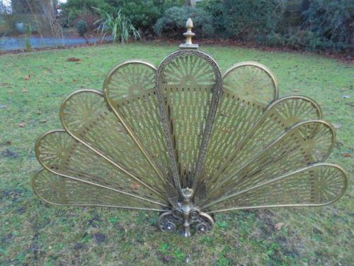 Ornate Brass Fan Fire Screen Peacock Fire Screen c.1920 (1 of 1)