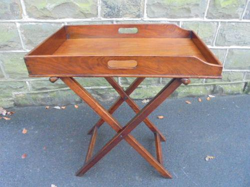 Antique Mahogany Butlers Tray on Folding Stand c.1880 (1 of 1)