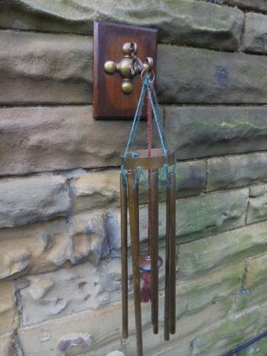 Edwardian Oak & Brass Hanging Wind Chime c.1910 (1 of 5)