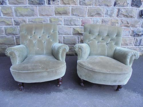 Pair of Antique English Upholstered Armchairs (1 of 1)