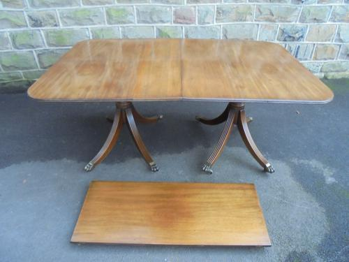 Antique Mahogany Twin Pillar Extending Dining Table c.1890 (1 of 1)