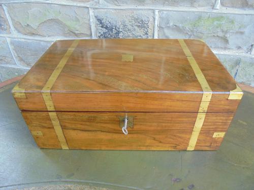 Antique Brass Bound Walnut Writing Slope Box (1 of 1)
