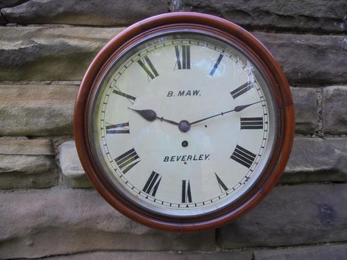 Antique Mahogany Cased Fusee Dial Clock Maw Beverley (1 of 1)