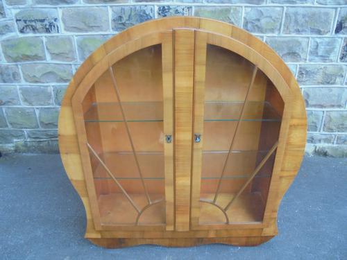 Art Deco Walnut Display Cabinet (1 of 1)