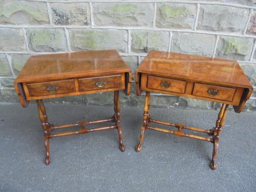 Pair of Baby Burr Walnut Sofa Coffee Tables c.1920 (1 of 1)