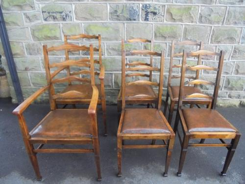Antique Set of 6 Oak Ladder Back Dining Chairs c.1900 (1 of 1)