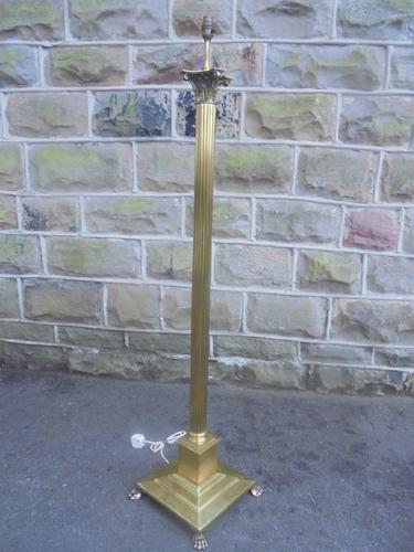 English Corinthian Column Brass Standard Lamp c.1920 (1 of 1)