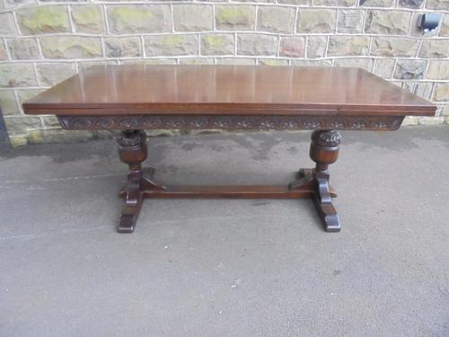 Large Oak 9ft Extending Dining Table c.1920 (1 of 1)