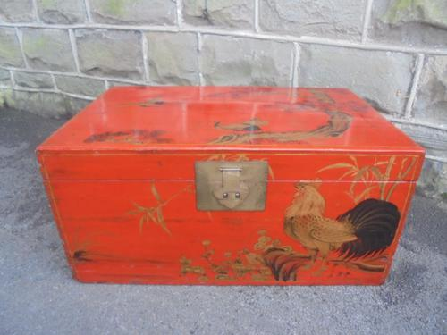 Decorative Antique Red Lacquered Oriental Trunk c.1900 (1 of 1)