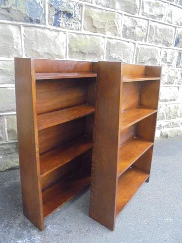 Matching Pair of Antique Oak Open Bookcases c.1910 (1 of 1)