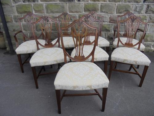 Antique Set of 8 Hepplewhite Style Mahogany Dining Chairs (1 of 1)