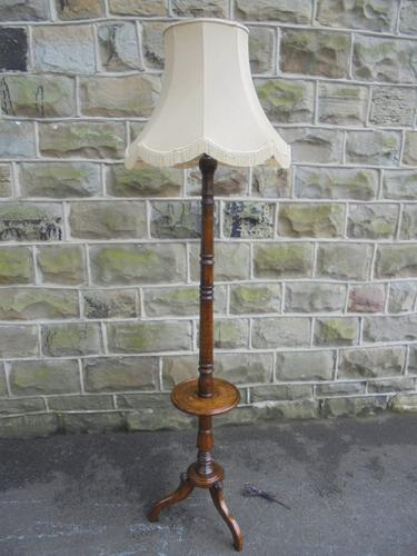 Quality Antique Oak Standard Lamp & Shade c.1910 (1 of 1)