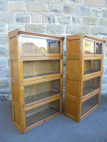 Pair of Antique Golden Oak Glazed Bookcases by Kendrick Jefferson (1 of 1)