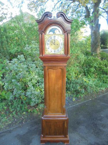 Antique Mahogany Moon Phase Roller Longcase Clock (1 of 1)