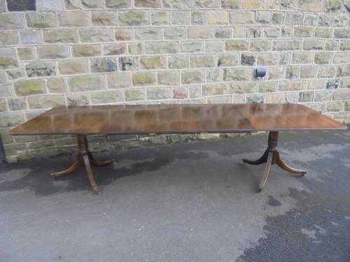 Large Antique Mahogany Extending Dining Table 3 Leaves 10ft Long (1 of 1)