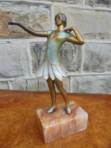 Art Deco Cold Painted Spelter Figure of Dancing Lady (1 of 1)