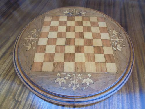 Antique Inlaid Walnut Chess Board (1 of 1)