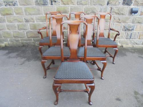 Quality Set of 6 Antique Mahogany Queen Anne Style Dining Chairs (1 of 1)