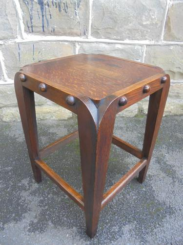 Unusual Arts & Crafts Oak Stool (1 of 1)