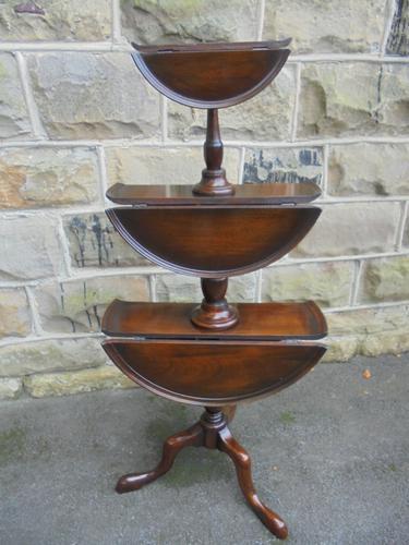 Antique Mahogany 3 Tier Drop Flap Dumbwaiter (1 of 1)